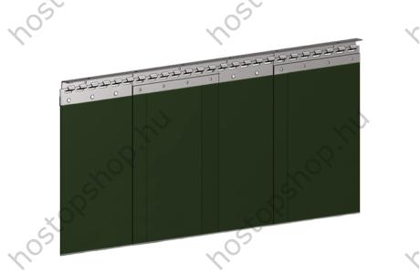 Hőstop hegesztőfüggöny matt sötétzöld színű szalagokból